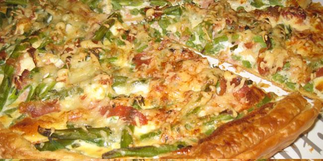 Tarte haricots verts, jambon cru, kiri