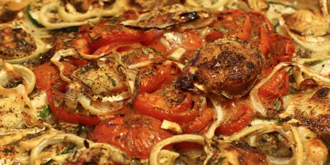 Tarte tomates, chèvre et courgettes