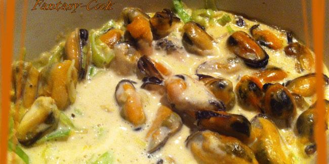 Cassolette de moules et fondue de poireau au paprika
