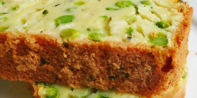Cake aux petits pois, chèvre et nigelle