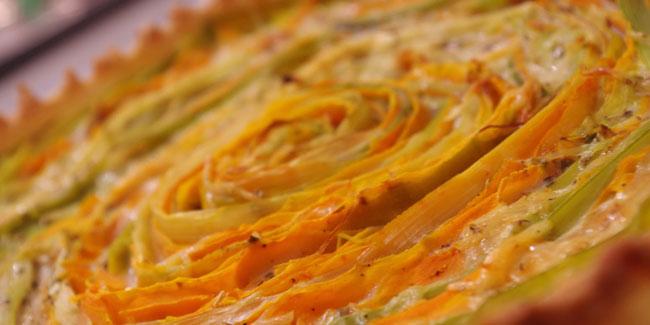 Tarte carottes et poireaux en cercle