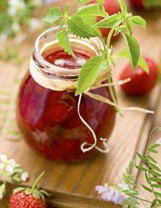 confiture fraise menthe. Des recettes de conserves pour les légumes et fruits de votre potager et de votre verger : lacto-fermentation, stérilisation, sel, sucre, huile, vinaigre