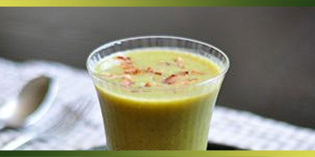 Soupe froide petits pois, haricots verts et lard