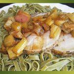 Recette-Rôti de porc au miel, au thym et à la rhubarbe