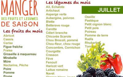 Cuisiner les fruits et légumes de saison et locaux du mois de juillet