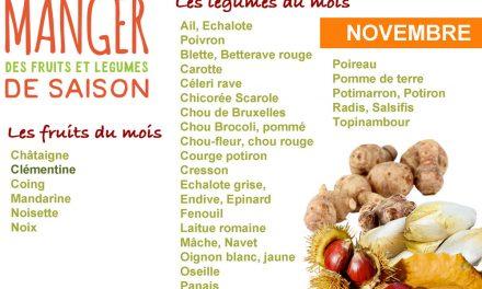 Cuisiner les fruits et légumes de saison et locaux du mois de novembre
