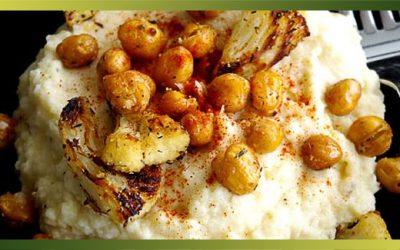 Purée de chou-fleur et pois chiches rôtis au thym