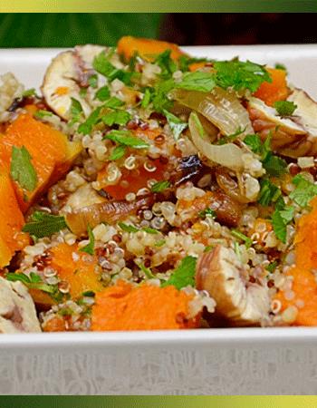Salade d'automne quinoa, potimarron et châtaignes