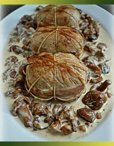 Paupiettes de veau sauce aux girolles et châtaignes