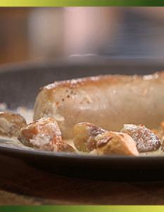 Boudin blanc aux châtaignes et girolles