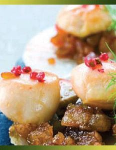 Saint-Jacques tout juste rôties aux marrons glacés