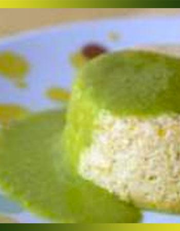 Flans de poireaux et coulis vert